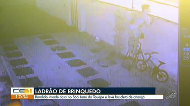 Bandido invade casa e furta bicicleta infantil - Saiba mais em g1.com.br/ce