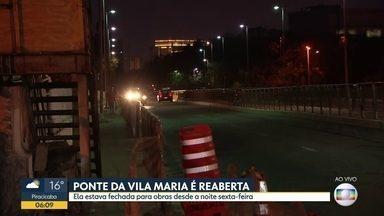 Ponte da Vila Maria foi reaberta na madrugada desta segunda-feira - Via estava fechada para obras desde sexta-feira (16).