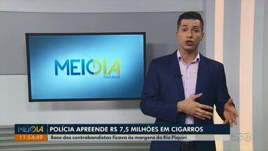 Polícia Federal apreende R$ 7,5 milhões em cigarros no Paraná - Base dos contrabandistas ficava às margens do Rio Piquiri.