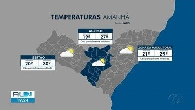 Confira a previsão do tempo para a terça-feira (20) - Dados são do Lápis da Ufal.