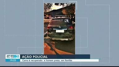 Carro é recuperado e homem é preso em ação policial em Ibatiba, no Sul do ES - Homem tentou fugir quando policiais rodoviários federais faziam a checagem dos documentos.