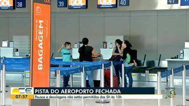 Pista do Aeroporto de Fortaleza está fechada para pousos e decolagens das 5h24 às 10h23 - Saiba mais em g1.com.br/ce