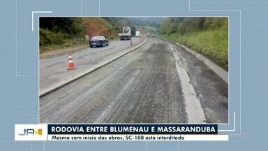 Obras na BR-470, em Gaspar, exigem cuidado de quem passa pela rodovia - Obras na BR-470, em Gaspar, exigem cuidado de quem passa pela rodovia