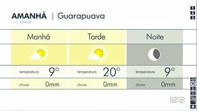 Quarta-feira será de sol entre nuvens em Guarapuava - Em Bituruna, pode fazer mínima de 7°C, e máxima de 24°C em Pitanga.