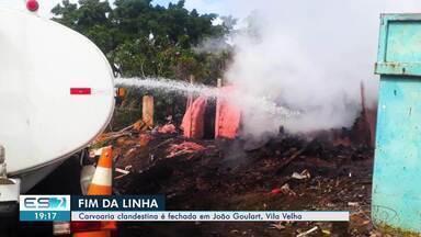 Carvoaria clandestina é fechada em João Goulart, Vila Velha - O dono da carvoaria não foi identificado e o local não tem autorização para produzir carvão.
