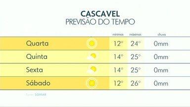 A quarta-feira será ensolarada em toda a região Oeste - As temperaturas em Cascavel devem variar entre 12 e 24 graus.