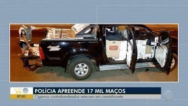 Polícia apreende 17 mil maços de cigarro em Rancharia - Produtos contrabandeados estavam em uma caminhonete.