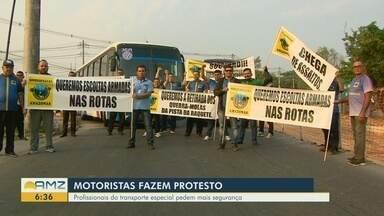 Pelo segundo dia consecutivo, motoristas fazem protesto pedindo mais segurança - Profissionais do transporte especial pedem mais policiamento.