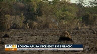 Polícia investiga causas de incêndio em reserva florestal em Presidente Epitácio - Nesta terça-feira (20) ainda havia pequenos focos na área.