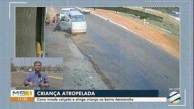 Criança é atropelada em calçada do bairro Aero Rancho - Imagens mostram que motorista bate antes em carro estacionado