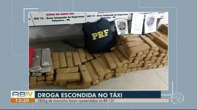 Cinco homens são detidos com cerca de 280 kg de maconha na BR-101, em Água Preta - Droga estava sendo transportada dentro de um táxi, segundo a PRF.