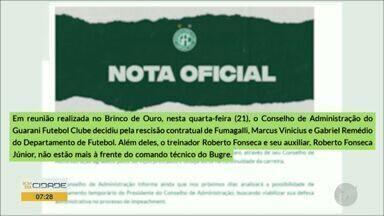 Presidente do Guarani demite técnico e toda diretoria do time - O Bugre enfrenta uma série de resultados ruins.