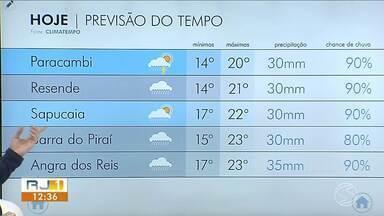Semana termina com previsão de chuva para todo o Sul do Rio - Infiltração de umidade marítima faz áreas de instabilidade avançarem na região.