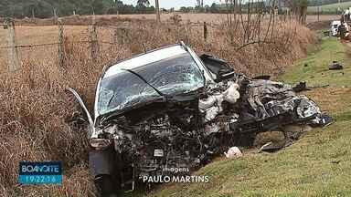 Motorista morre em acidente na PR-151 em Ponta Grossa - Picape a caminhão bateram de frente.