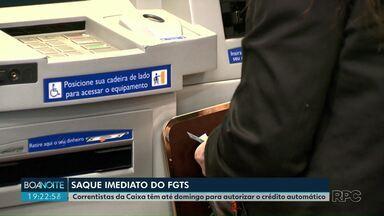 Correntistas da Caixa têm até domingo para autorizar o crédito automático do FGTS - O Governo autorizou saque imediato de até R$ 500.