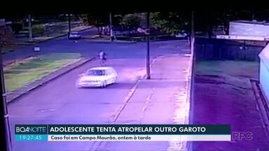 Adolescente é apreendido depois de tentar atropelar outro adolescente - O adolescente foi surpreendido pela polícia ao chegar em casa.