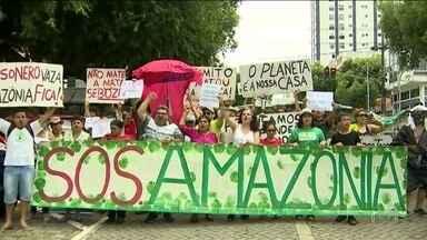 Manifestantes voltam às ruas no Brasil e no exterior em defesa da Amazônia - Índios participaram de manifestações em Natal e em Belém. Em Nova York, um grupo levou cartazes em defesa da floresta até a sede da ONU.