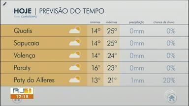 Meteorologia prevê dia com bastante frio no Sul do Rio - Máximas ficam em torno dos 25º em algumas cidades da região.