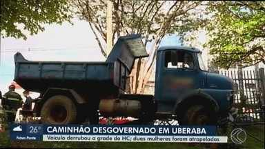 Motorista atropela pedestres e invade hospital em Uberaba - Uma idosa morreu. O condutor relatou aos bombeiros que perdeu o controle da direção na Avenida Getúlio Guaritá.