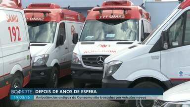 Depois de anos de espera, ambulâncias antigas do Consamu são trocadas por veículos novos - Ao todo, 19 ambulâncias vão ir para as bases do Consamu, que atende 43 municípios da região Oeste do Paraná.