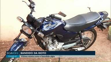 """Mulher de 79 anos relata como foi abordada pelo """"bandido da moto"""" em Apucarana - Segundo a polícia, doze vítimas já prestaram depoimento, mas é possível que tenha mais de vinte."""