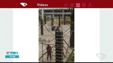 Trabalhadores sem equipamentos de segurança são flagrados em Marataízes - Situação preocupa quem atua na área da construção civil.
