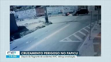 Cruzamento perigoso no Papicu recebe sinalização horizontal - Confira mais notícias em g1.globo.com/ce