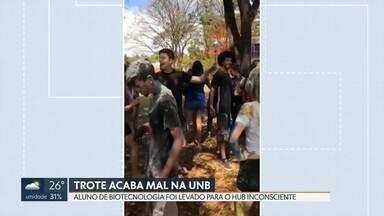 Estudante da UnB é levado para o hospital depois de trote - A família suspeita que o aluno do curso de biotecnologia tenha sido forçado a ingerir bebida alcoólica. Ele foi levado para o Hospital Universitário de Brasília e recebeu alta.