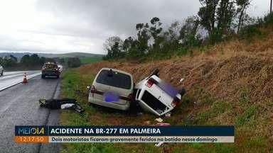 Dois motoristas ficaram gravemente feridos em acidente na BR-277, em Palmeira - Três veículos se envolveram na batida.