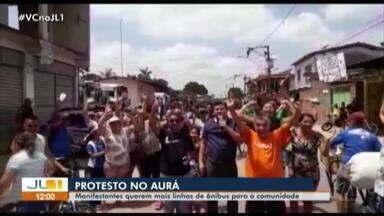 Moradores do Aurá protestam por mais linhas de ônibus para a comunidade - Moradores do Aurá protestam por mais linhas de ônibus para a comunidade