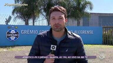 Grêmio tem dúvidas no time para encarar o Athletico-PR pela Copa do Brasil - Assista ao vídeo.