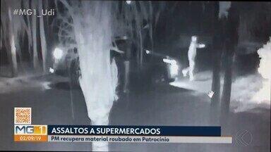 Supermercado de Patrocínio é alvo de suposta quadrilha especializada em furto de cofres - Crime semelhante ocorreu no último dia 19 de agosto na cidade. A Polícia Militar conseguiu recuperar os materiais levados, entre eles um carro furtado em Uberlândia. Até o momento ninguém foi preso.