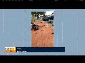 Motociclista morre em acidente com carro em Guanhães - Motorista do carro ficou ferido e foi socorrido.