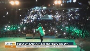 Maior safra de laranja dos últimos 5 anos é comemorada com festa em Rio Preto da Eva - Mais de 20 milhões foram colhidos.