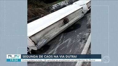 Três acidentes deixam seis feridos na Via Dutra, no Sul do Rio - Eles aconteceram com a pista molhada. Polícia Rodoviária Federal fala sobre cuidados do motorista nessas situações.
