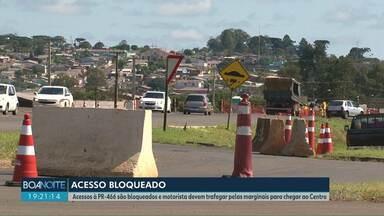 Acessos a PR-466 são fechados em Guarapuava - Motoristas tem de passar pela via marginal para chegarem até o Centro da cidade.