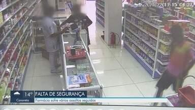 Farmácia sofre vários assaltos seguidos em São Vicente - Em um mês, foram pelo menos 10 ações na unidade.