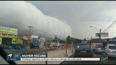 """Nuvem gigante chama atenção de moradores da região de Campinas - Saiba qual o fenômeno que gera o """"paredão"""" de nuvens."""