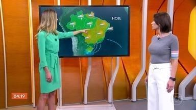 Previsão é de chuva forte no Norte e de geada no Sul do país nesta quinta-feira - O risco é de temporal no norte do Rio de Janeiro e no Espírito Santo. Em Goiás, o dia será quente.