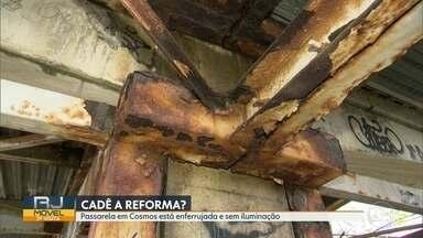 O RJ Móvel foi a Cosmos, nessa quinta-feira - Os moradores cobram a reforma da passarela Amarela, que está enferrijada e sem luz