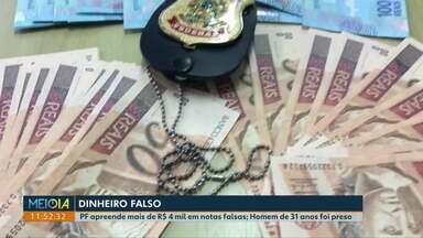 Notas falsas eram enviadas pelos Correios, segundo a Polícia Federal - Homem foi preso com R$ 4 mil de cédulas falsas em Cascavel. Delegado da Polícia Federal explica a diferença das notas.