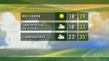 Veja como fica o tempo em Goiás - Confira a previsão do tempo em Campinorte e Rio Verde.