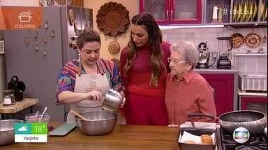 Neta de Palmirinha ensina receita de sonho - Adriana Rosa prepara o café da manhã especial para os apresentadores do 'É de Casa' e para a avó Palmirinha
