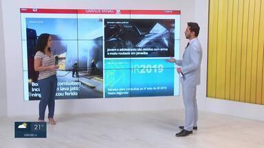 Confira os destaques do G1 nesta segunda-feira (09) - Bombeiros apagam incêndio em lava jato em Montes Claros.
