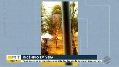 Fogo queima áreas rurais e assusta moradores em Vera - Fogo queima áreas rurais e assusta moradores em Vera