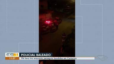 Policial é baleado em troca de tiros com criminosos em Cariacica, ES - Ele tentava ajudar uma vizinha, que pediu ajuda. No tiroteio, ele acabou baleado no tórax.