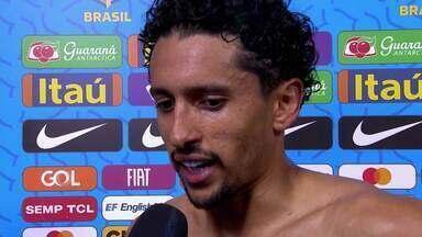 """Marquinhos comenta desempenho do Brasil: """"A gente não conseguiu"""" - Marquinhos comenta desempenho do Brasil: """"A gente não conseguiu""""."""