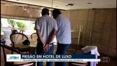 Grupo do RJ é preso em hotel de luxo suspeito de tentar dar golpe de R$ 4 milhões em banco - Segundo o delegado, os presos são estelionatários e iriam sacar dinheiro em Goiânia vindo até da Europa nas contas de outras pessoas.