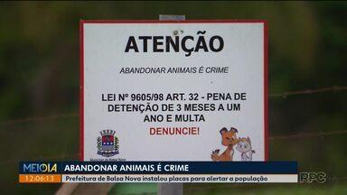 Placas alertam sobre o crime de abandonar animais - Elas foram instaladas em Balsa Nova, na região de Curitiba.
