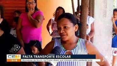 Moradores do Muriti, no Crato reclamam da falta de transporte escolar - Saiba mais em g1.com.br/ce